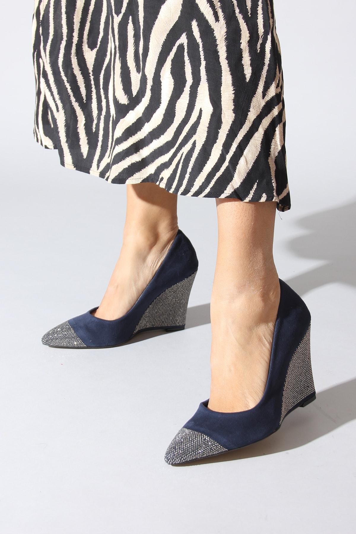 Rovigo Lacivert Kadın Dolgu Topuklu Ayakkabı 1013.0000130.14.362
