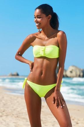 No Gossip Kadın Aksesuarlı Soft Straplez Bikini Üst 209102 Neon Sarı