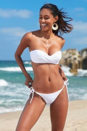 No Gossip Kadın Dolgulu Straplez Bikini Üst 209103 Beyaz