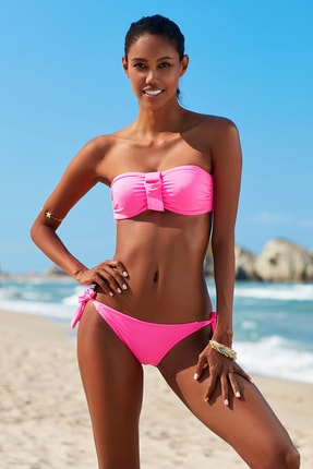 No Gossip Kadın Tulum Bağcık Bikini Alt 209205 Neon Pembe