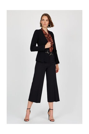 Setre Siyah Yakasız Uzun Kol Vatkalı Metal Toka Kapama Ceket