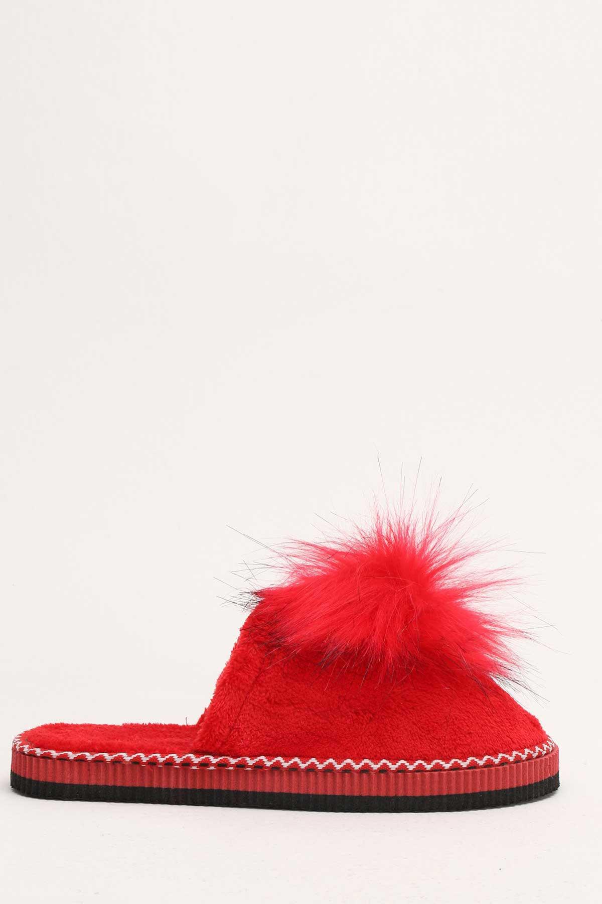 Ayakkabı Modası Kırmızı Kadın Ev Terliği 4000-19-127016