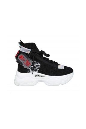 Dolgu Topuk Siyah Kadın Sneakers 20Y313 Dolgu Topuk