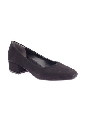 Siyah Süet Kadın Topuklu Ayakkabı 601-1609