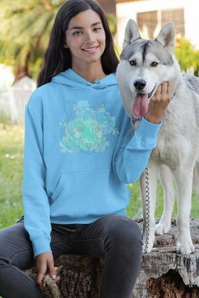 Angemiel Wear Ayı Figürlü Mavi Kadın Kapüşonlu Sweatshirt
