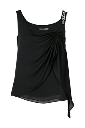 Seçil Kadın Siyah Taş Detaylı Askılı Bluz