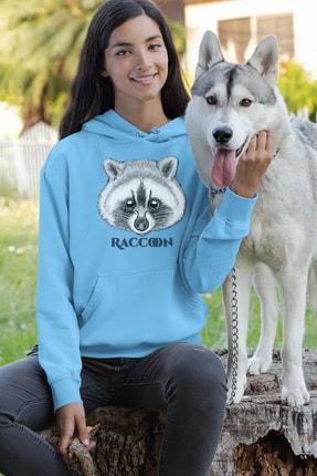Angemiel Wear Tatlı Rakun Mavi Kadın Kapüşonlu Sweatshirt Çanta Kombin