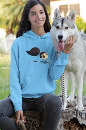 Angemiel Wear Oturan Tatlı Yasuo Mavi Kadın Kapüşonlu Sweatshirt Çanta Kombin