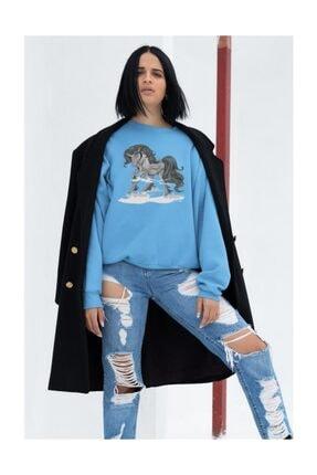 Angemiel Wear Koyu Renkli Unicorn Kadın Mavi Sweatshirt