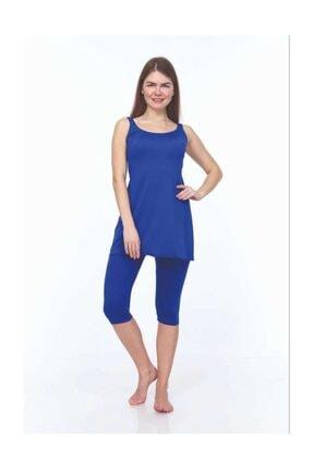 ESTİVA Kadın Yarı Kapalı Mayo Kalın Askılı Düz Saks Mavisi 46