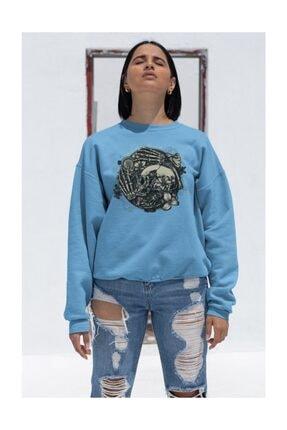 Angemiel Wear Iskelet Ve Çiçekler Kadın Mavi Sweatshirt