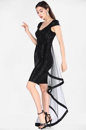Nesrinden Pullu Siyah Kadın Elbise