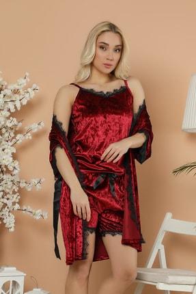 Elitol Kadın Kırmızı Kadife Set Sabahlık-Şort Takım