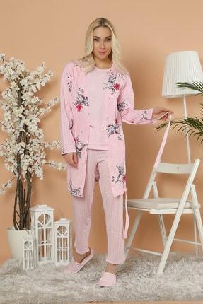 Elitol Kadın Pembe Baskılı Sabahlık Pijama Takım