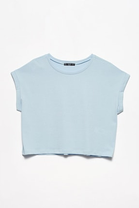 Dilvin Kadın T Kol  T-Shirt-Bebe Mavi 101A03431