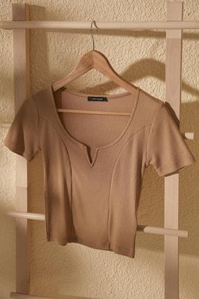 TrendyolMilla Camel Yaka Detaylı Fitilli Örme Bluz TWOSS20BZ1356