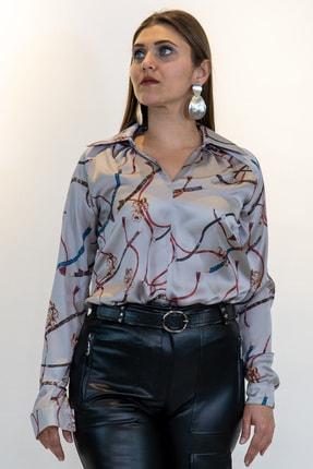 Lefon Kadın Baskılı Saten Bluz