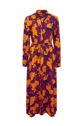 DeFacto Kadın Mor Desenli Dokuma Elbise N0360AZ.20SM.PR200