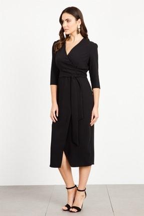Moda İlgi Modailgi Kruvaze Anvelop Elbise Siyah