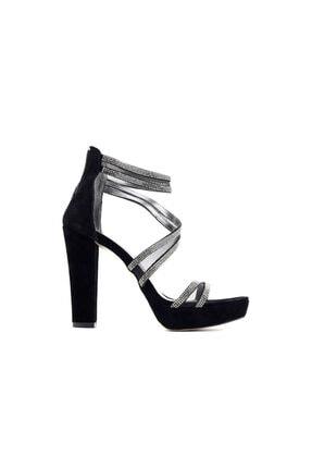 Punto 655102 Kadın Topuklu Ayakkabı-siyah Süet