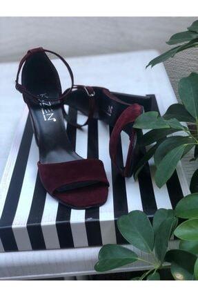 Bordo Süet Bağcıklı Topuklu Ayakkabı 21