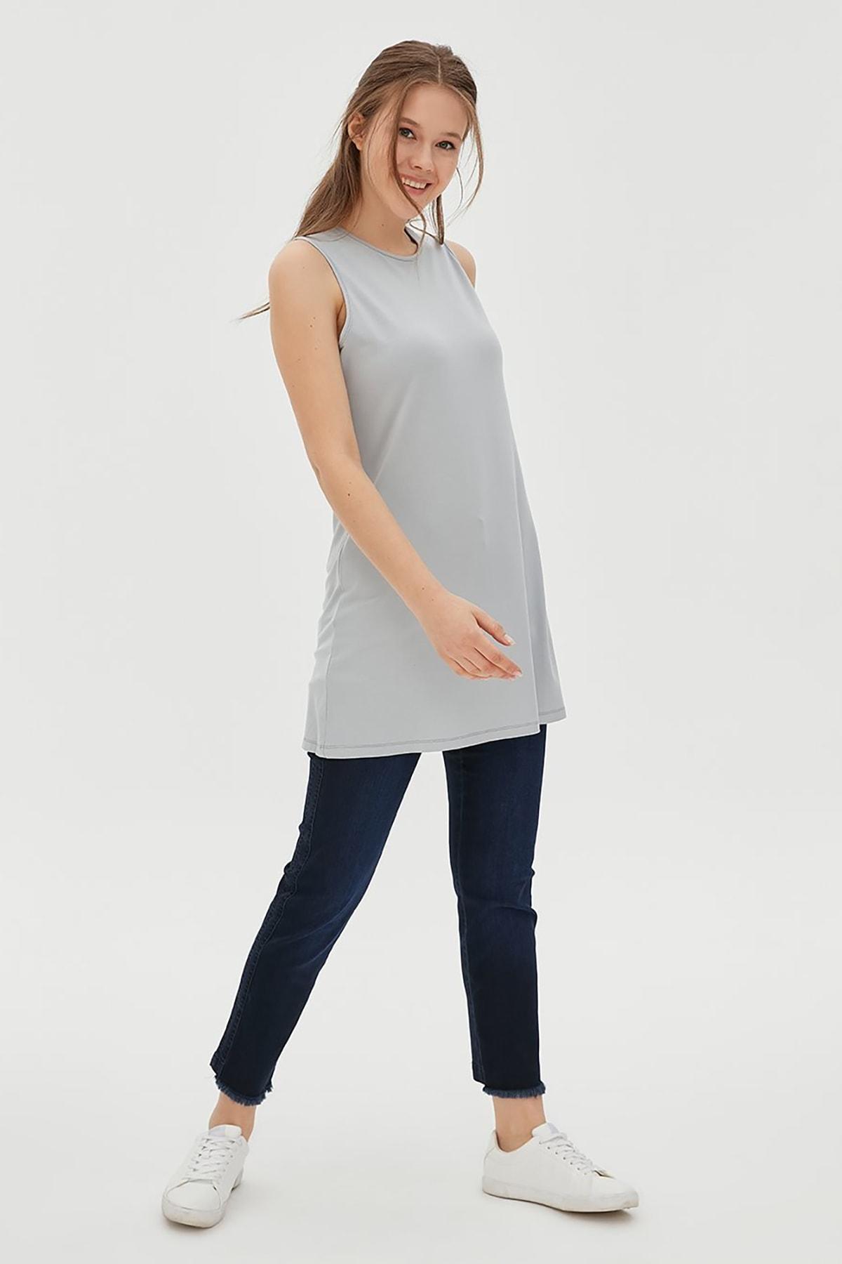 Kayra Kadın Basic Kolsuz Penye Bluz Gri Sz 10505