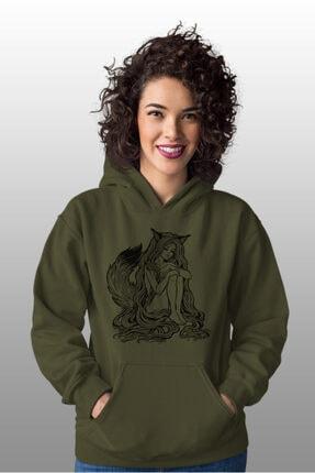 Angemiel Wear Tilki Kadın Yeşil Kadın Kapüşonlu Sweatshirt Çanta Kombin