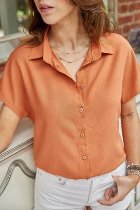 Xhan Kadın Kiremit Kısa Kol Gömlek 0YXK2-43492-16