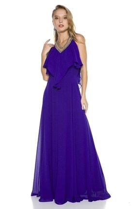 Abiye Sarayı Kadın Mor Boyundan Bağlamalı Yakası Taşlı Volanlı Şifon Uzun Abiye Elbise