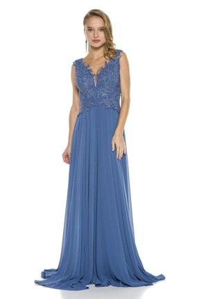 Abiye Sarayı Mavi Işlemeli Dekolteli Şifon Uzun Abiye Elbise