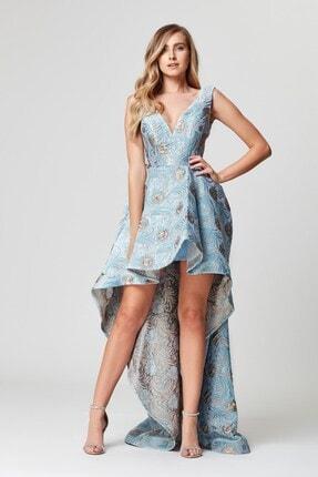 Abiye Sarayı Mavi Çiçek Desenli V Yaka Kuyruklu Çan Abiye Elbise