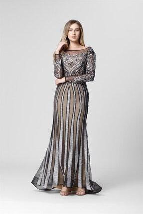 Abiye Sarayı Gümüş Bej Transparan Detaylı Simli Uzun Abiye Elbise