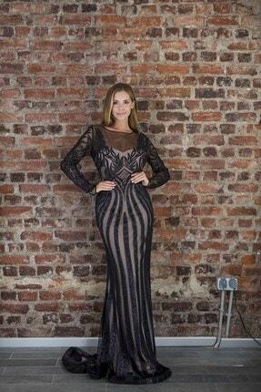 Abiye Sarayı Kadın Siyah Bej Transparan Detaylı Simli Uzun Abiye Elbise