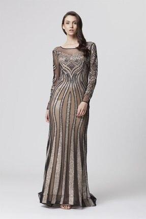 Abiye Sarayı Kadın Gold Bej Transparan Detaylı Simli Uzun Abiye Elbise