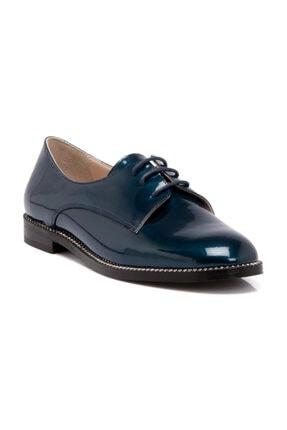 Tergan Hakiki Deri Lacivert-Rugan Kadın Oxford Ayakkabı K19I1AY64211