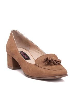 Tergan Hakiki Deri Taba-Nubuk Kadın Klasik Topuklu Ayakkabı K19I1AY64208