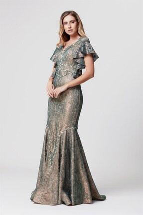Abiye Sarayı Kadın Yeşil Taş Işlemeli Volanlı Balık Uzun Abiye