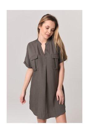 YOYOSO Kadın Haki Kargo Çift Cep Elbise