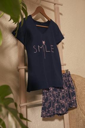 TrendyolMilla Lacivert Baskılı Örme  Pijama Takımı THMSS20PT0312