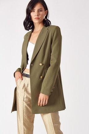 Robin Kadın Haki Düğme Detaylı Ceket D78474