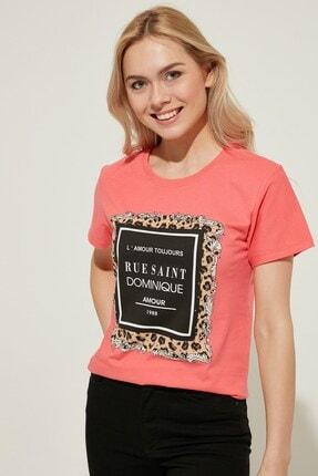 Zindi Kadın Baskılı Taş Detaylı T-shirt NAR ÇİÇEĞİ
