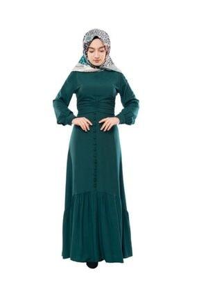 Kadın Sgs Fırfırlı Tesettür Elbise Zümrüt Yeşili 7018SGS.ZMR