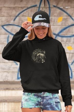 Angemiel Wear Saate Sarılı Iskelet Adam Siyah Kadın Kapüşonlu Sweatshirt Çanta Kombin