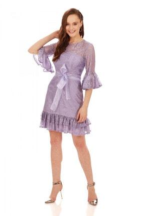 6ixty8ight Lila Dantelli Kolları Volanlı Kısa Abiye Elbise