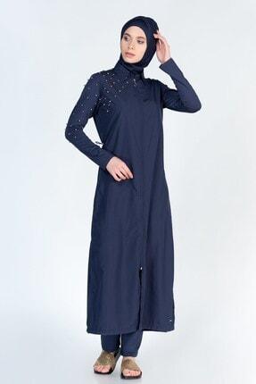 ALFASA Kadın Lacivert Uzun Kol Pantolon İnci Detaylı Tam Kapalı Tesettür Mayo