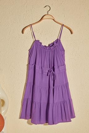 TrendyolMilla Mor Bağlama Detaylı Büzgülü Elbise TWOSS20EL2679