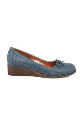 Tergan Kot Mavi Deri Kadın Ayakkabı 64415K67