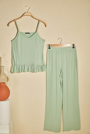 TrendyolMilla Mint Fırfır Detaylı Örme Pijama Takımı THMSS20PT0339