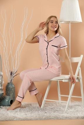 Elitol Kadın Pembe Melanj Düğmeli Pijama Takım