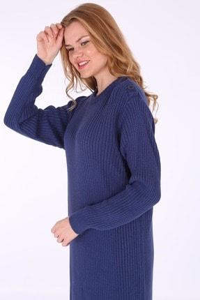 Bigdart Kadın Lacivert Omuz Düğmeli Triko Elbise 15633